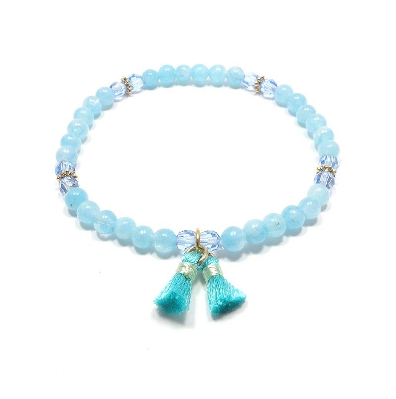 海藍寶石 SWAROVSKI淺藍水晶 佐手工流蘇 手環 幸運石