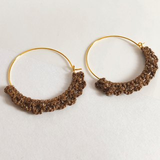Bujielite- Crochet Gold Rounded Hoop Earring_with Brown thread