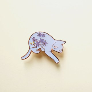 Autumn Kikyo Cat Enamel Pin, Badge, Brooch, Pin, Accessories