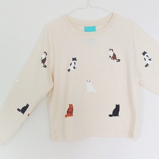 Cats Sit / Long sleeve Top-Calico