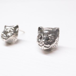 Ebony realistic cat Babe head earrings a pair