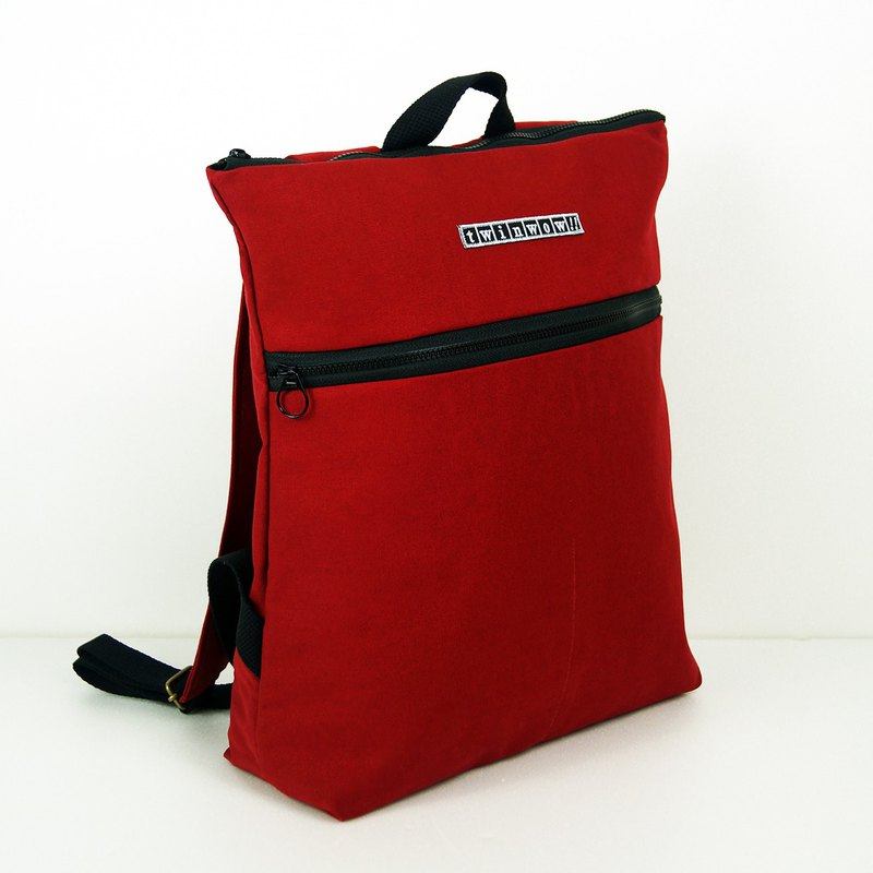 時尚輕量 - 細緻質感後背包 - 紅黑