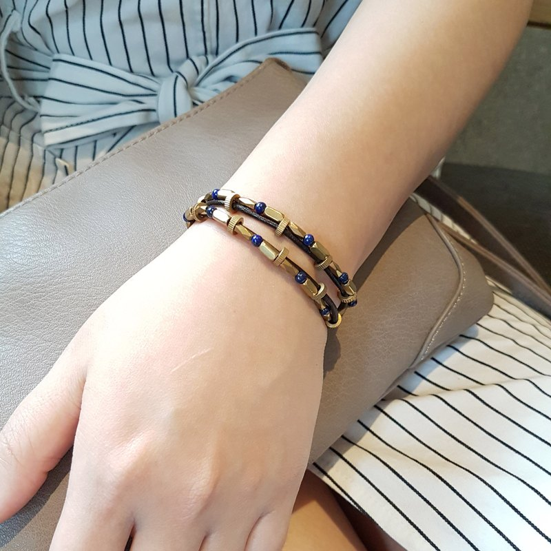 ◆ naughty point line real leather cord / Lapis / brass bracelet gift custom designs