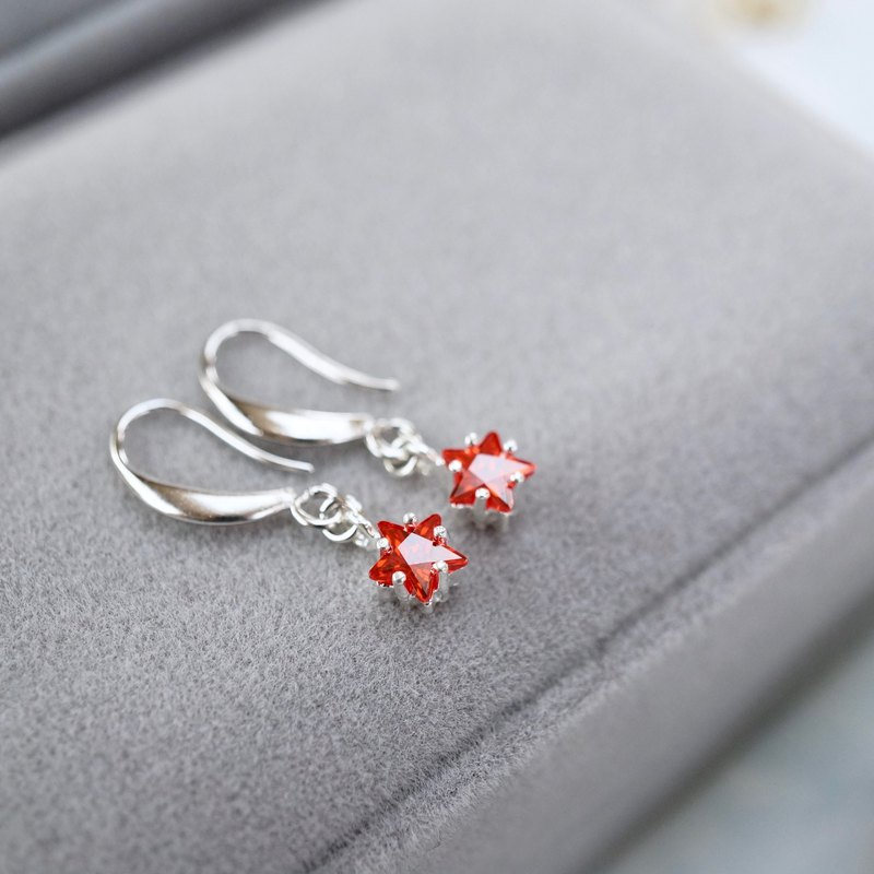 ITS-E143 [earrings series, Christmas starlight] stars red ear hook ear clip Valentine's Day gift