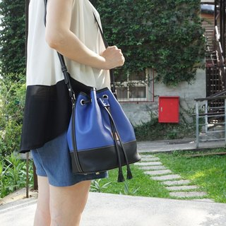 Two-color stitching bucket bag