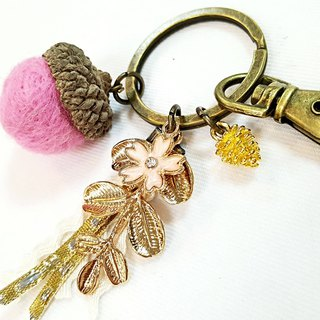 Paris * Le Bonheun. Happy forest. Flowers and leaves. Wool felt acorn. Pine cone key ring strap