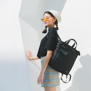 BLACK | Journey Tote Backpack 3 ways 背包 |  Made from 100% thick twilled nylon