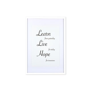 HomePlus Decorative Frame - Cursive Quote LearnLiveHope - White 63x43cm Homedecor