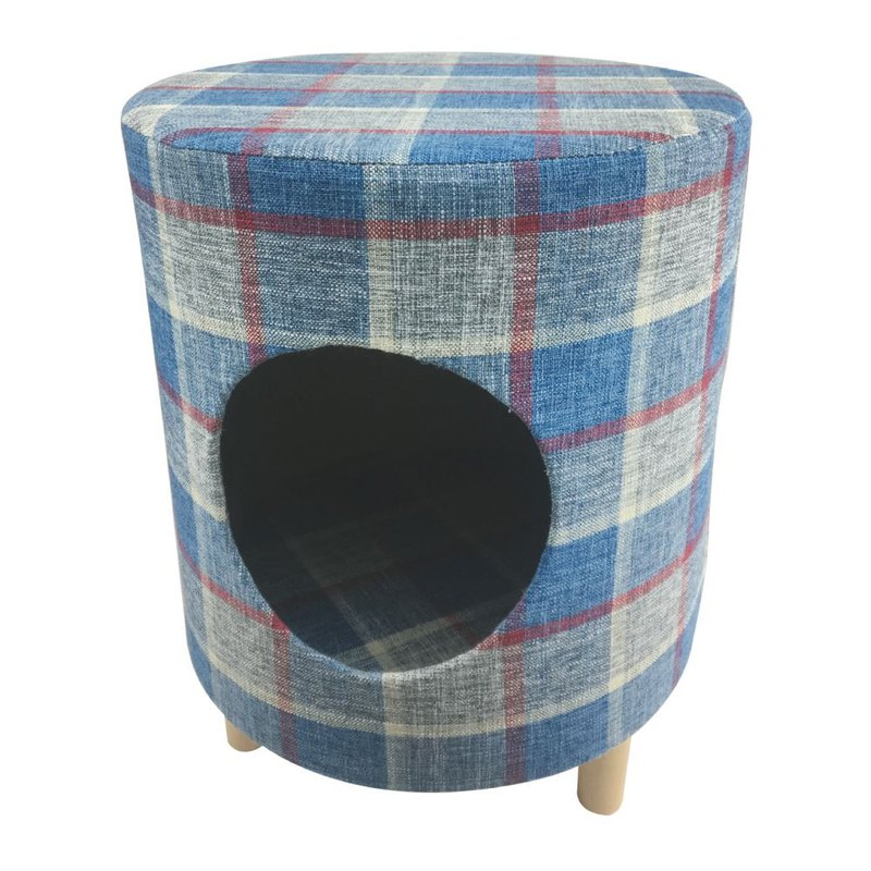 Pet Comfort Multifunction Chair Stool Wood Nest - Round Blue
