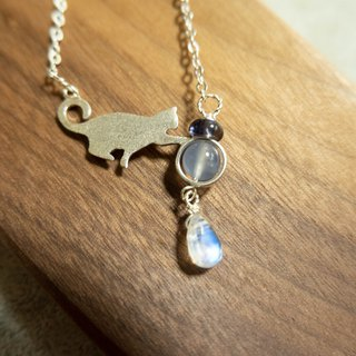 8MM Moonstone, Blue Chalcedony, Cordierite Flat Bead 925 Cat Sterling Silver Clavicle Chain