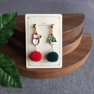 Christmas gifts Cute snowman Christmas tree red green hair ball dangle drop ear