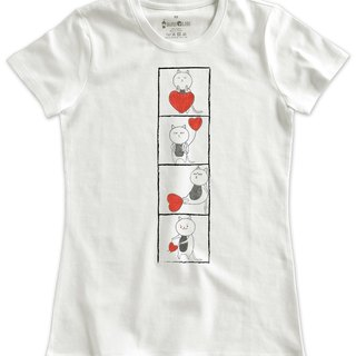 Classic white short-sleeved T-shirt _ love of the steps (female M without inventory)