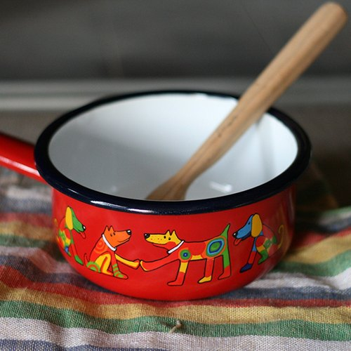 Smaltum Prague Enamel Soup Pot _ Cautious Dogs _ Solanum (FDN000452)