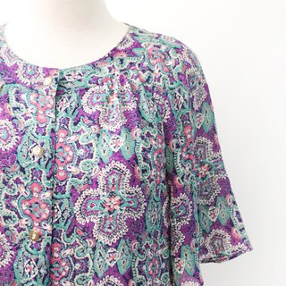 Vintage Japanese Geometric Totem Purple Short Sleeve Vintage Shirt Vintage Blouse