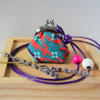 Tiny Frame Purse Necklace - Lavender Sachet - Length Adjustable, made from dutch prints - Pixel