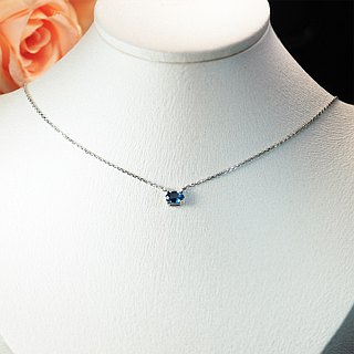 【Lalune】 fresh temperament London Blue Topaz necklace in November on the 誔 stone