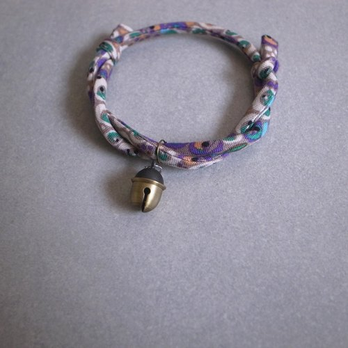 Japanese dog collar & cat collar【Nordic Cloth Adjustable】Gray Purple & Acorn Bell_S size