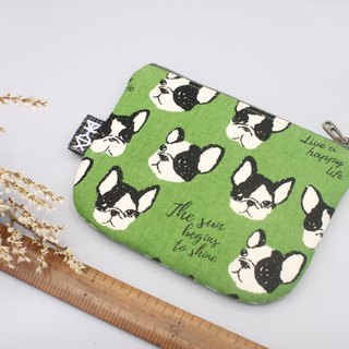 Peaceful little bag - retro law dog (green), hand cotton, double-sided two-color small wallet