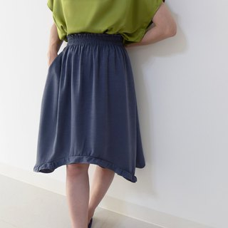 French classic Madeleine---two-in-one A-type lotus leaf skirt (靛灰)