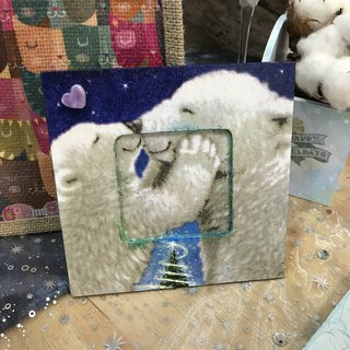 [Christmas limited] kiss polar bear Christmas small photo frame