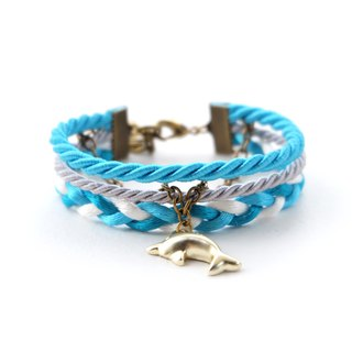 Dolphin layered rope bracelet in Candy blue / light gray / white