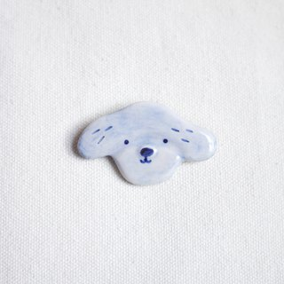 Puppy Face Rou brooch blue