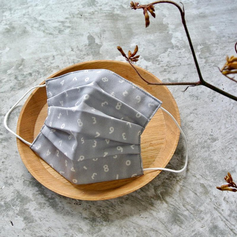 手工立體口罩 可洗滌 日本製純棉二重紗布 数字 號碼 灰色 成人