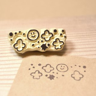 Smile small star handmade rubber stamp