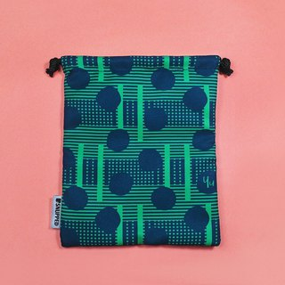 Blowball Green/Navy Lined Digital Printed Drawstring Pouch Bag / Goodie Bag