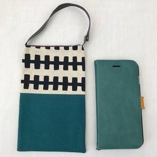 Small pochette for mobile and miscs.  Blue green and zipper pattern