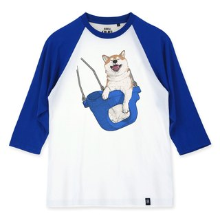 AMO®Original canned cotton adult 3/4 Raglan T-Shirt /AKE/The Shiba on the blue swing
