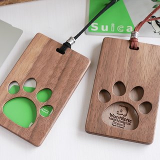 Wooden IC card case 【cute dog meat ball】 Walnut