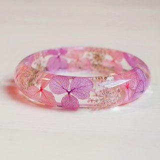 FlowerSays / Hydrangea&QueenAnne'sLace Real Flower Bracelet / Purple Collection / Eternal Flowers / Bracelet