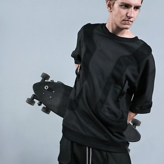 Gravity Black Wide fifth sleeve shirt