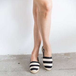 Japanese fabric left and right footless straw shoes - stripes - ivory black