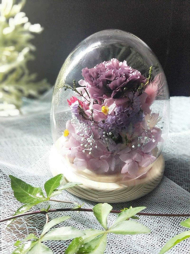 康乃馨玻璃罩花禮 乾燥花 永生花 夜燈 婚禮  母親節禮物