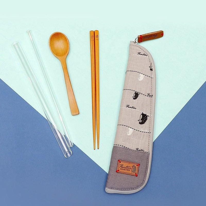 獨創布花 棉麻餐具袋::月球灰:: (漫步一線間)環保餐具/減塑/防疫/交換禮物