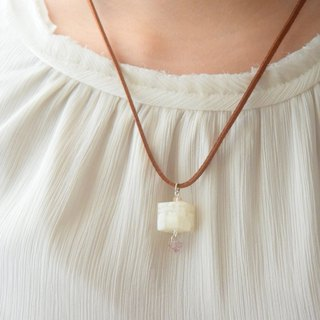 White Candy Cube with Swarovski Pendant Handmade Necklace
