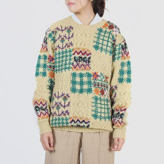 [Egg Plant Vintage] Country Time Colorful Textured Vintage Sweater