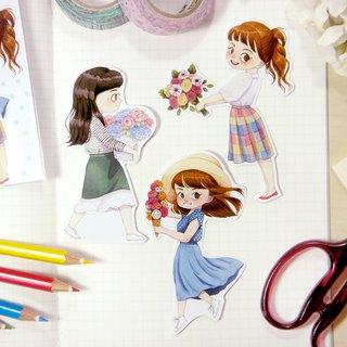 Spring Girls Sticker Pack (B) - Illustrated Watercolor Stickers