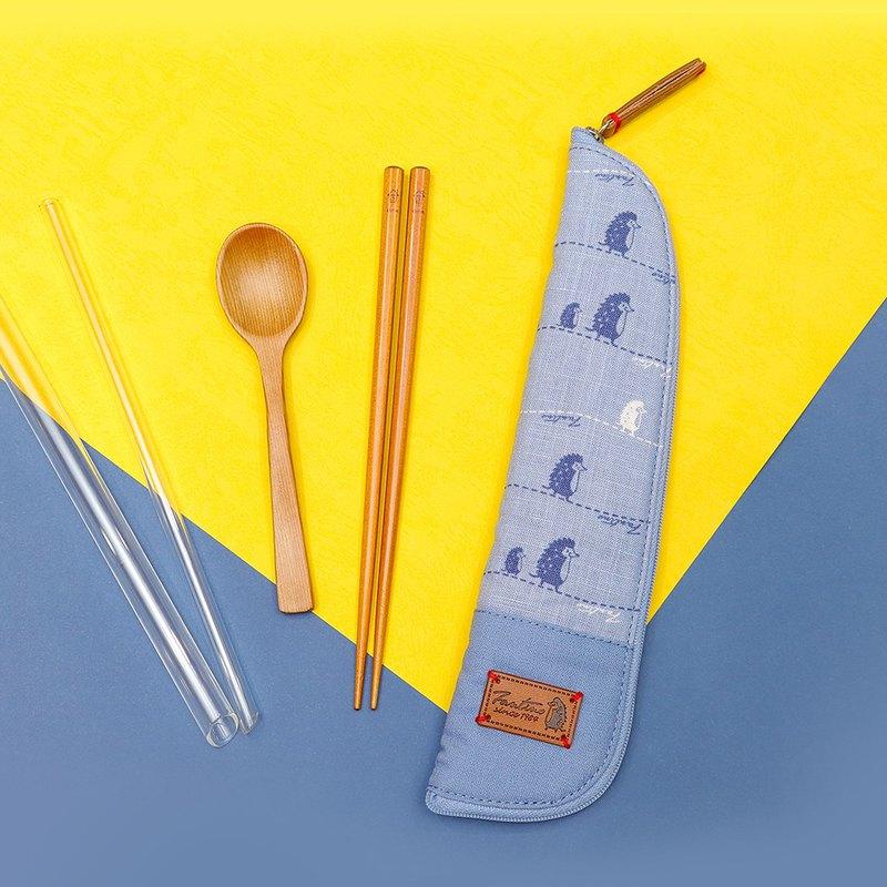 獨創布花 棉麻餐具袋::天空藍:: (漫步一線間)環保餐具/交換禮物