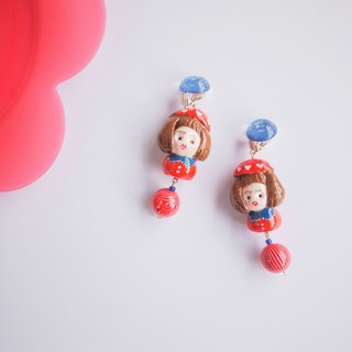 Japanese clay hand hit red color earrings ear clip