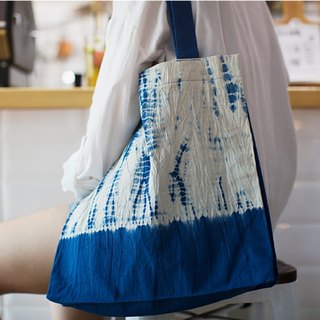 Better to be used as a plant dyed blue dye tie Mori female hand-literary retro men and women hand-friendly bag bag grocery bag double / large capacity / with inner bag Christmas gift / exchange gift