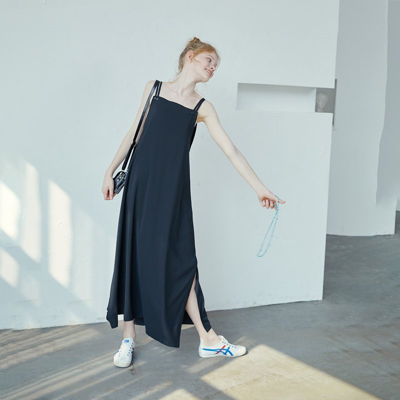 Black simple thin straps long dress
