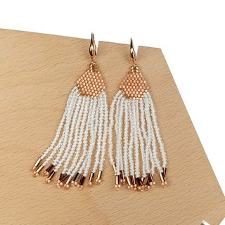 Rose-White Waterfall Beaded Tassel Earrings