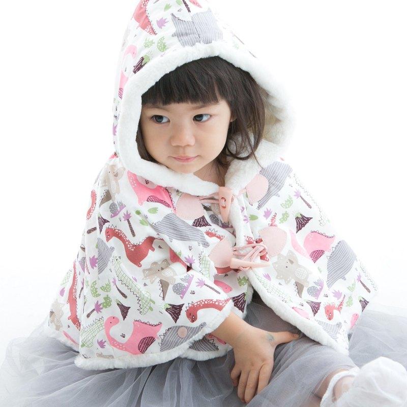 保暖毛絨連帽斗篷 披風外套 印花款 白-粉恐龍