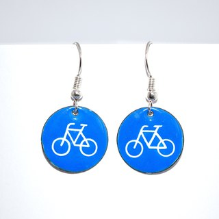 Cyclists, Bicycle, Bicycle Earrings, Enamel Earrings, Cyclist Earrings, Road Sign Earrings, Enameled, Enameled Jewelry, Traffic Sign,