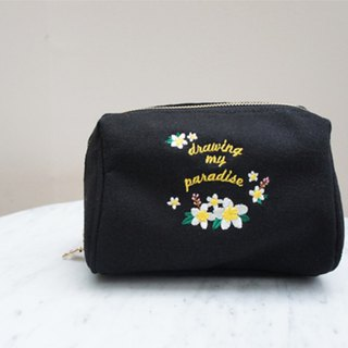 A. Strawberry draws my paradise multi-function cosmetic bag - black