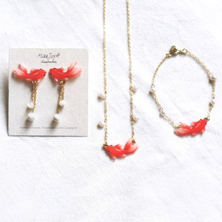 Red goldfish jewelry set