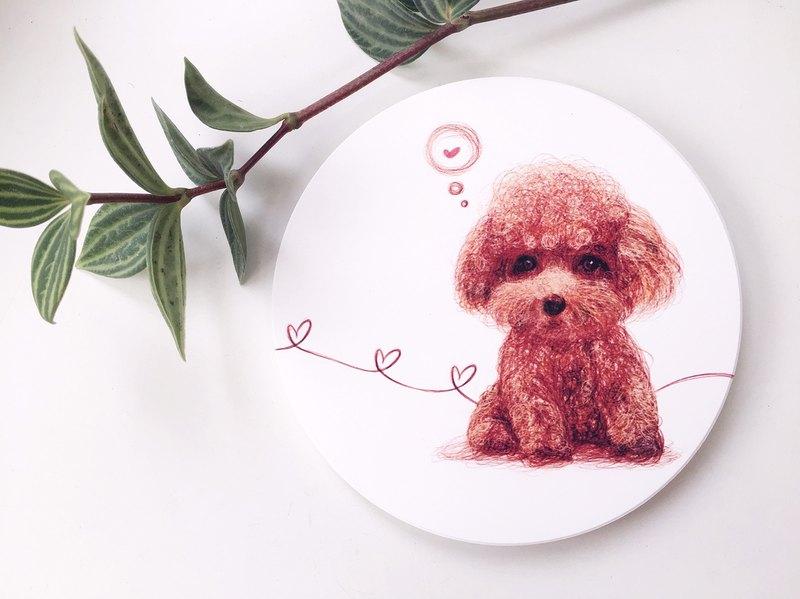 動物插畫陶瓷吸水杯墊【紅貴賓】